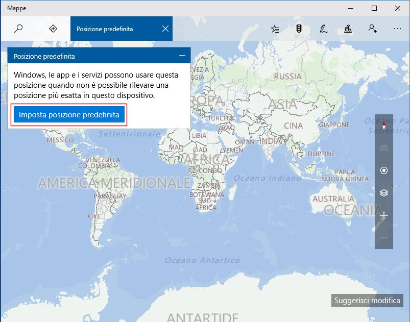 Mappe, Imposta posizione predefinita