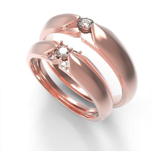 Nhẫn cưới vàng hồng 18K