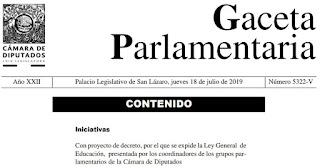 Proyecto de decreto, por el que se expide la Ley General  de Educación