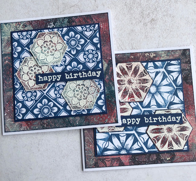 Birthday cards with PaperArtsy Chalk paints and Tracy Scott TS059 stamp set. Pattern Play