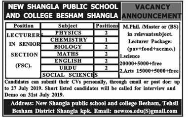 Jobs In New Shangla Public School 17 Jul 2019