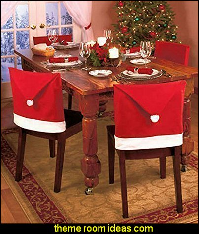 Santa Hat Dining Chair Covers Christmas Party Decoration  christmas kitchen decorations - Christmas table ware - Christmas mugs  - Christmas table decorations - Christmas glass ware - Holiday decor - Christmas dining - christmas entertaining - Christmas Tablecloth - decorating for Christmas - Santa mugs - Christmas Cookie Cutters  - snowman and reindeer kitchen  accessories - red cardinal kitchen decor