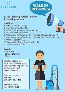 Info Lowongan Kerja Cleaning Service Sparklin Jakarta