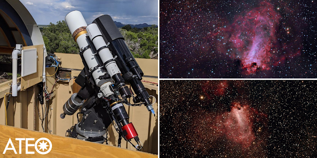 "Insight Observatory's 5"" f/5.8 Williams Optics APO Refractor (ATEO-2A) located in the dark skies of New Mexico, US (left) and processed image data of M17, the Omega Nebula from 2.5 hours by Utkarsh Mishra (upper right) and Michael Petrasko (lower right). Image data acquired by John Evelan."