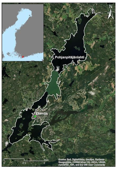 Karttakuva Pohjanpitäjänlahdesta, joka on kapea murtovesilahti