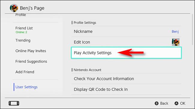 """في إعدادات مستخدم Nintendo Switch ، حدد """"Play Activity Settings""""."""