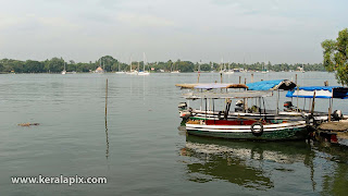 'Machuva' boats used for ferrying people anchored at Marine Drive, Kochi, Kerala