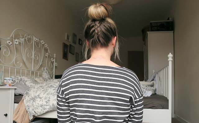 Hair Style Plaited Braided Top Knot Messy Bun Casual