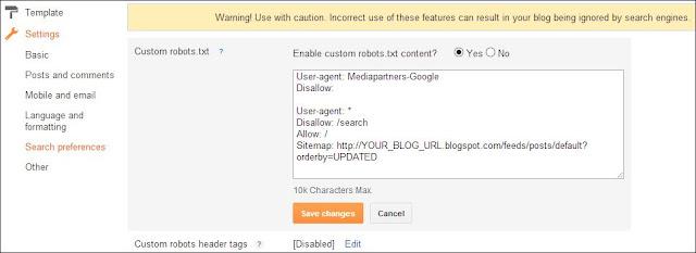 Editing Robot.txt for Blogger Blog