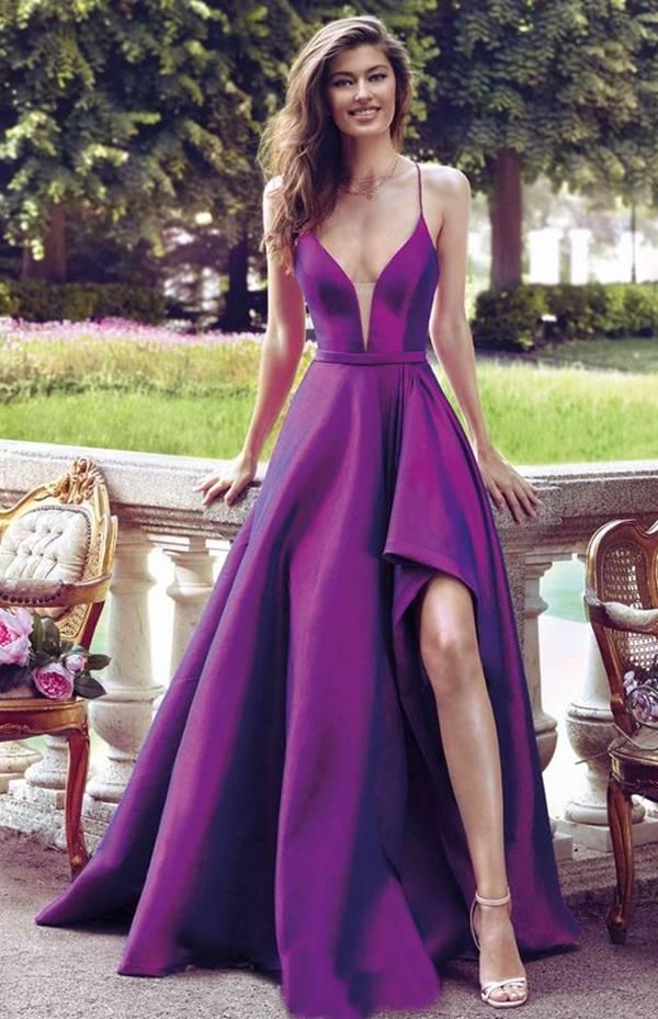 vestido de festa longo fucsia estilo princesa com fenda