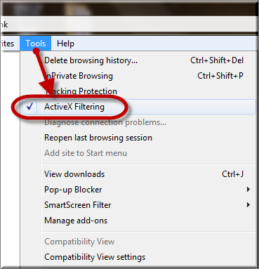 How to Turn ActiveX Filtering On Or Off in IE On Windows