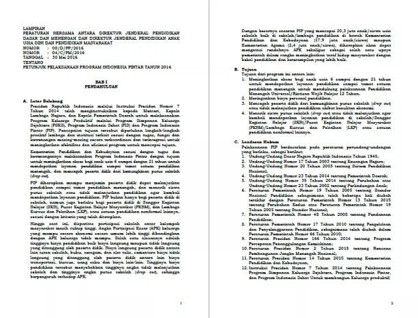 Petunjuk Pelaksanaan PIP (Program Indonesia Pintar)