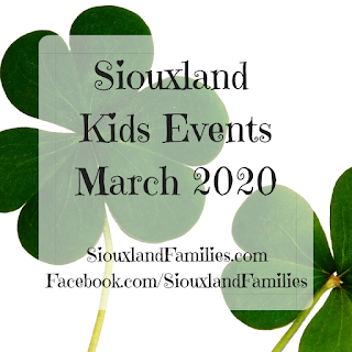 "in background, a close-up view of 2 shamrocks against a stark white background. in foreground, ""Siouxland Kids Events March 2020 SiouxlandFamilies.com Facebook.com/SiouxlandFamilies"""