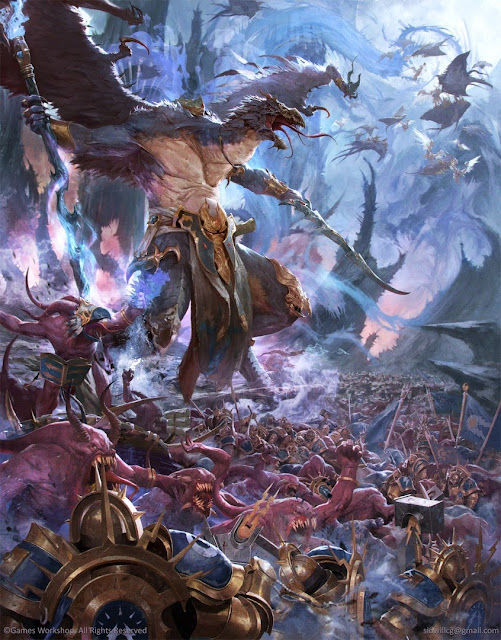 Warhammer age of sigmar artwork ilustration from battletome disciples of tzeentch cover art
