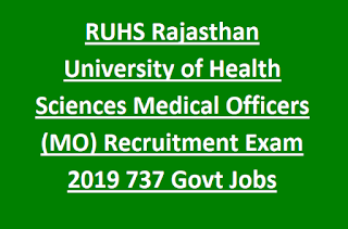 RUHS Rajasthan University of Health Sciences Medical Officers (MO) Recruitment Exam Notification 2019 737 Govt Jobs Online