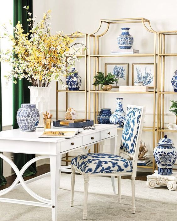 Blue And White Office: Chinoiserie Chic: Blue And White