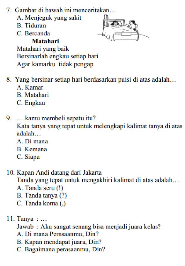 Soal Dan Jawaban Pas Uas Bahasa Indonesia Kelas 2 Sd Mi Semester 1 Serba Serbi Guru Serba Serbi Guru