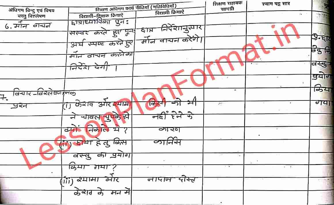 Hindi Lesson Plan for B.ed