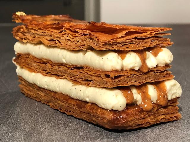 millefeuille crème légère vanille mascarpone et praliné noisette