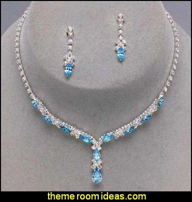 Lite Aqua Blue Bridal Bridesmaid Necklace Earring Rhinestone Bling
