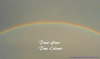 Image of a rainbow in a grey sky with the wording: Trust Your True Colours