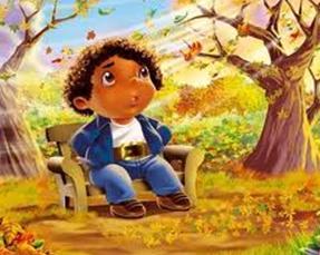 Dibujo de un niño sentado en un parque en Otoño