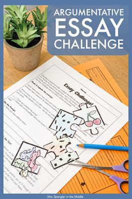Add in a little firendly competition as you review essay writing with your middle school students using this challenge!  It's fun, gets the job done, and makes a great display!