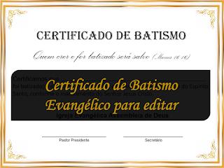 Certificado de Batismo Evangélico para editar