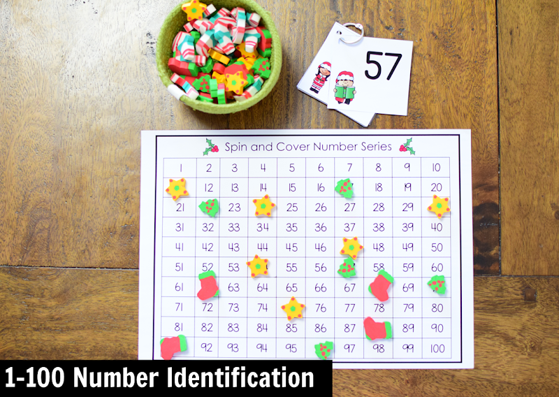 Kindergarten Math Center for December: 1-100 Number Identification