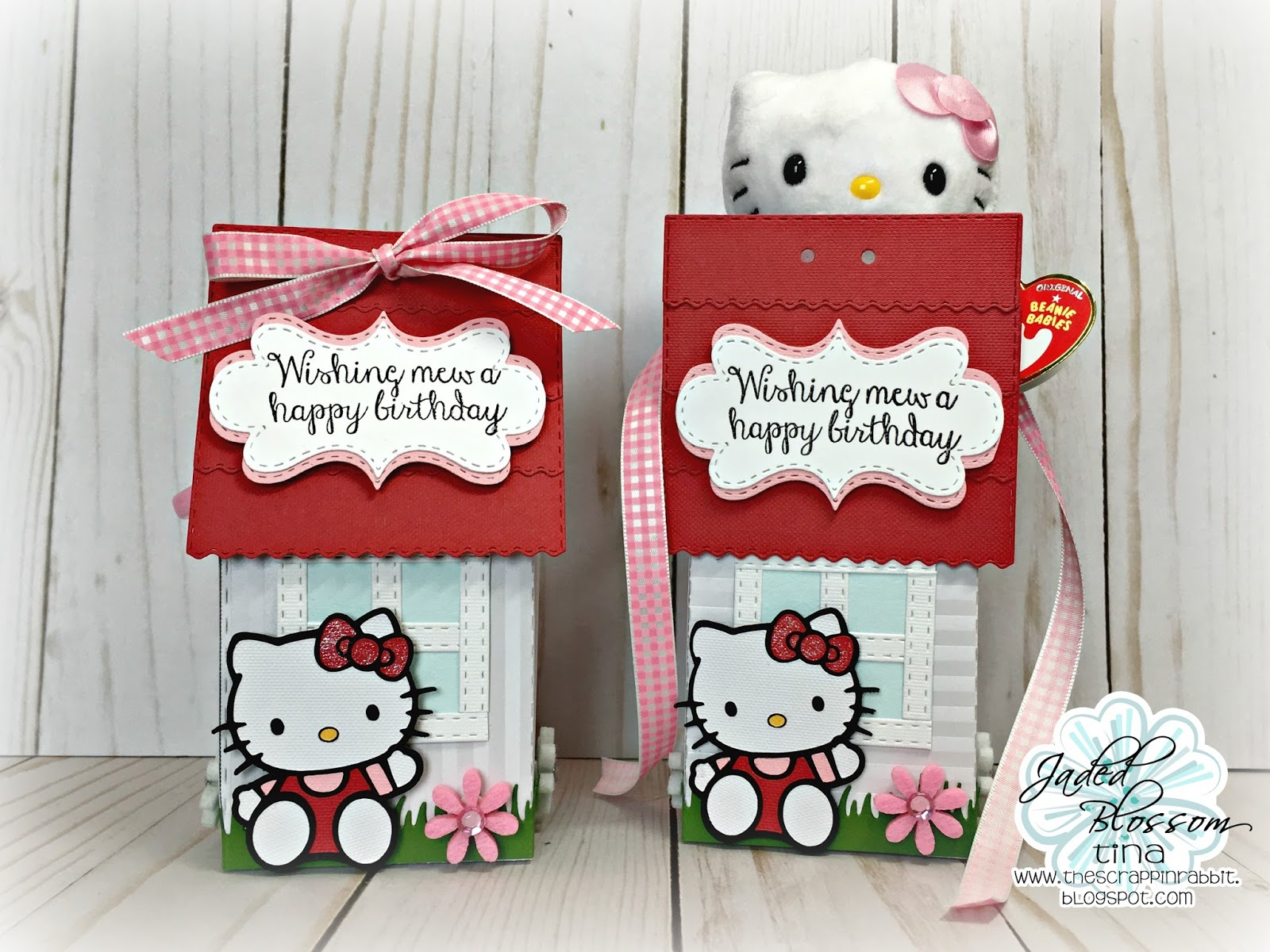 I Created A Couple Gift Box Houses For These Cute Little Hello Kitty Ty  Clips Using The New Gable Box Die.
