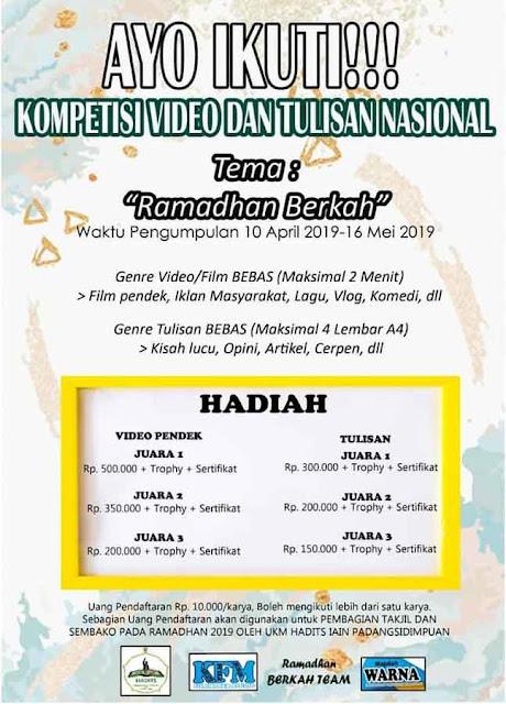 Lomba Video & Tulisan Nasional Umum 2019 IAIN Padangsidimpuan