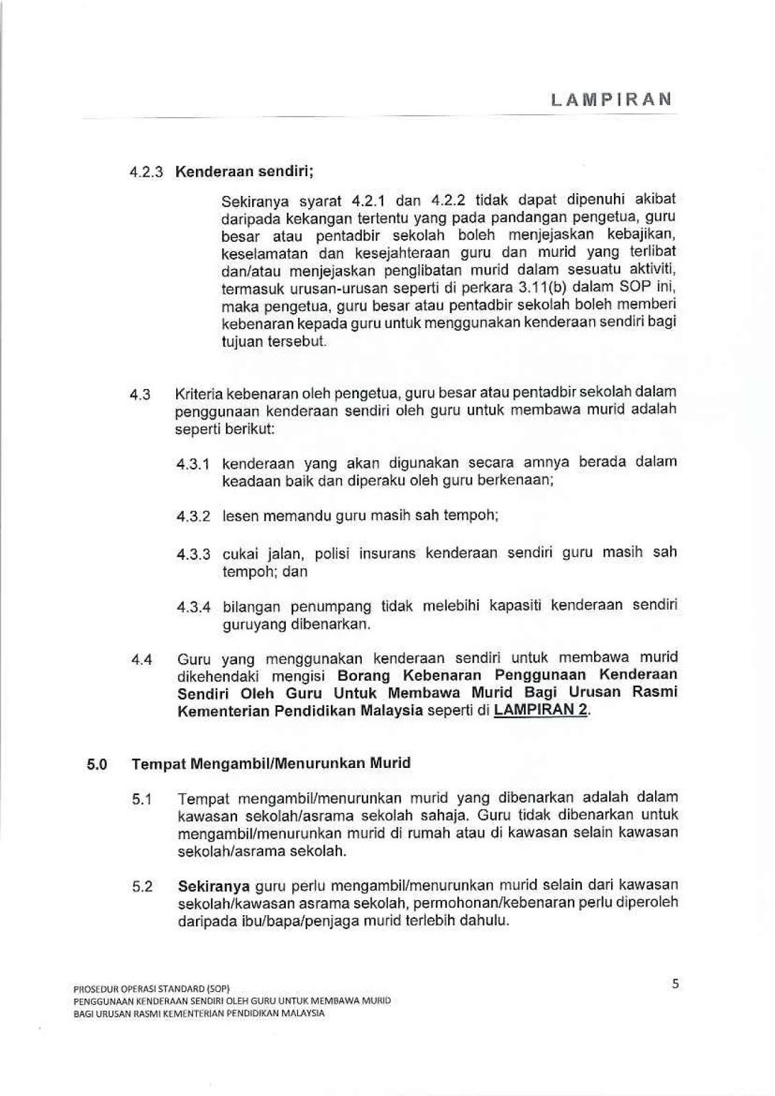 Sop Guna Kenderaan Sendiri Bawa Murid Untuk Urusan Rasmi Mengikut Spi Bil 3 2019 Munaz Bagus
