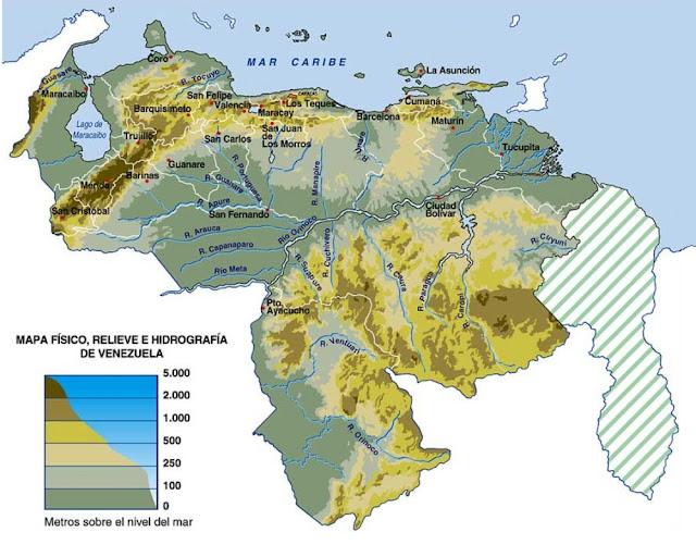 Mapa de la Hidrológica de Venezuela