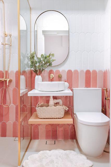 banheiro feminino sob medida rosa branco