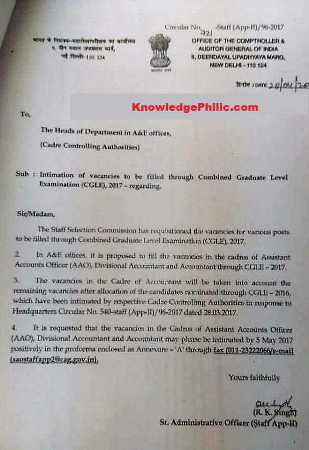 CAG Sent Intimation Letters to All HODs for SSC CGL 2017 Vacancy.