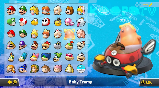 Mario Kart 8 Deluxe Baby Trump character selection screen President Donald balloon blimp DLC Nintendo Switch Biddybuggy