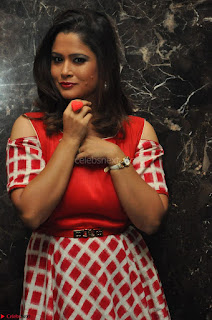 Shilpa Chakravarthy looks super cute in Red Frock style Dress 009.JPG