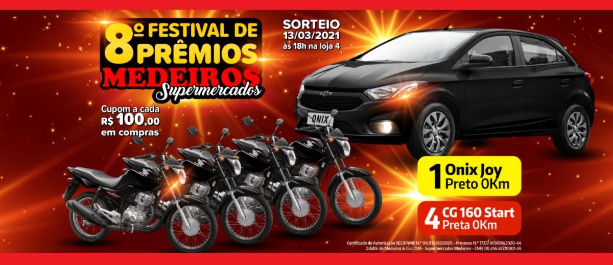 PParticipar Nova Promoção Medeiros Supermercados 1 Carro e 4 Motos - 8º Festival Prêmios 2020 2021