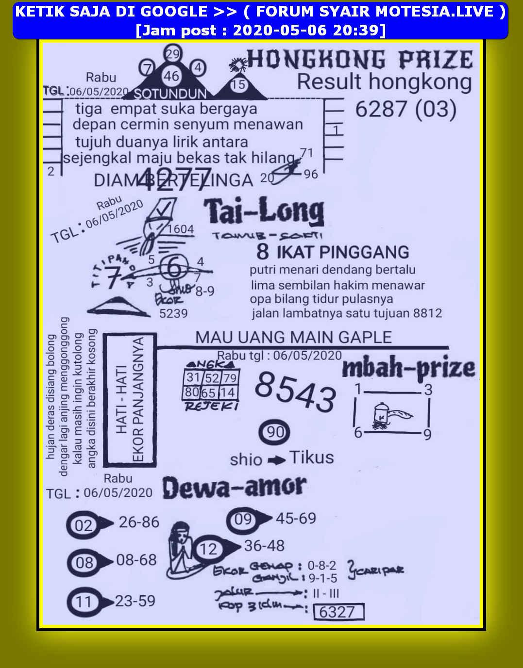 Kode syair Hongkong Rabu 6 Mei 2020 14