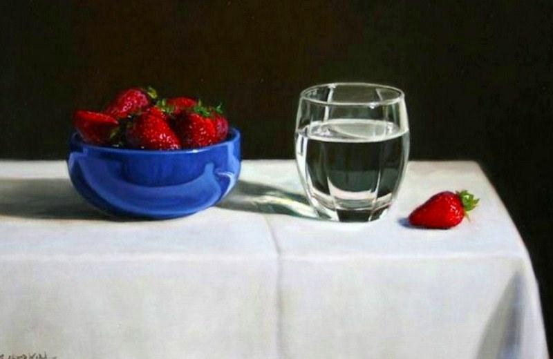 Cuadros pinturas oleos Pinturas con vasos de vidrio
