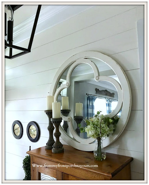 french- country-farmhouse-foyer- round mirror-cottage-style-shiplap-from my front porch to yours
