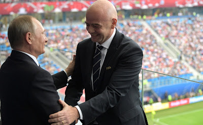 President Putin with FIFA President Gianni Infantino at the opening match of the 2017 Confederations Cup.