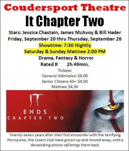 Coudersport Theatre Playing Daily