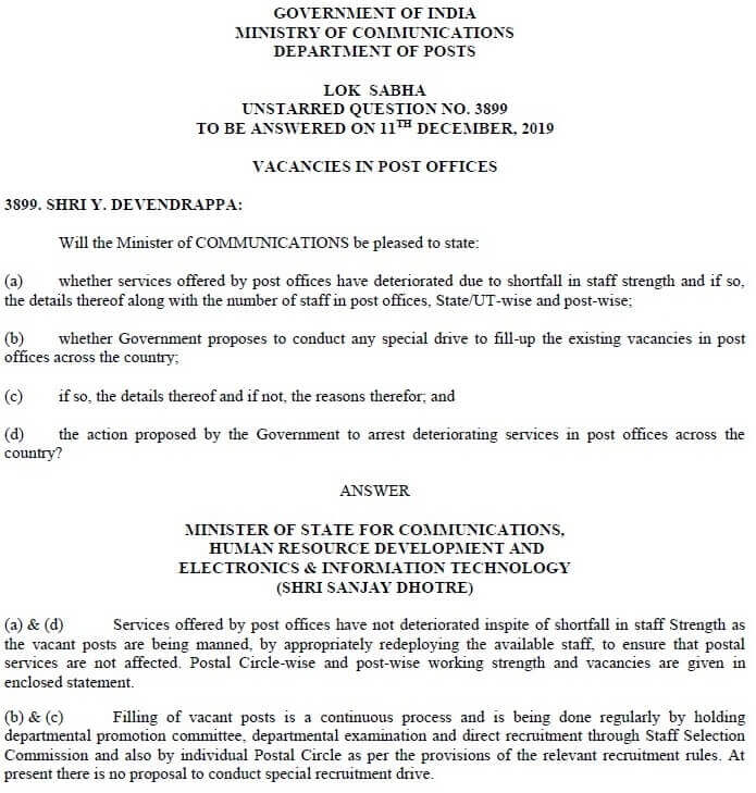 Vacancies in Post Offices-Lok Sabha Q&A dated 10.12.19