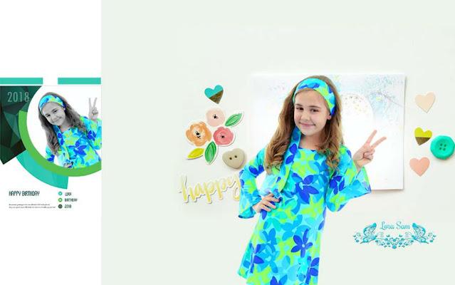 Kids Birthday Photo Album 12x36 PSD Backgrounds