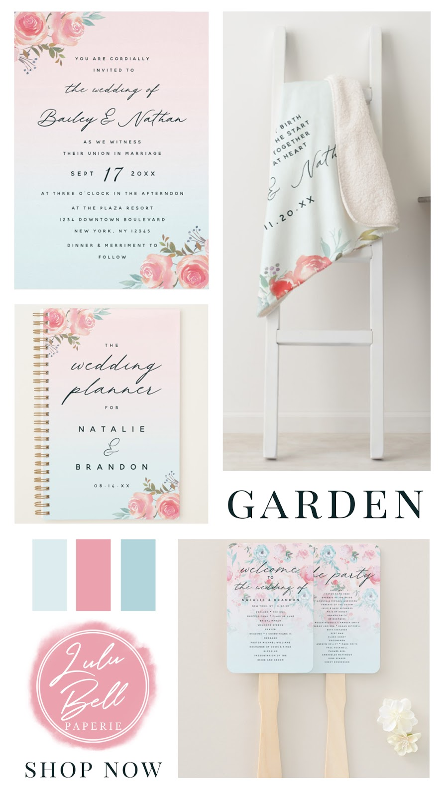 French Garden Floral Wedding Suite - Wedding Invitations, Keepsake Quote Blankets, Wedding Planner Book, and Program Hand Fans