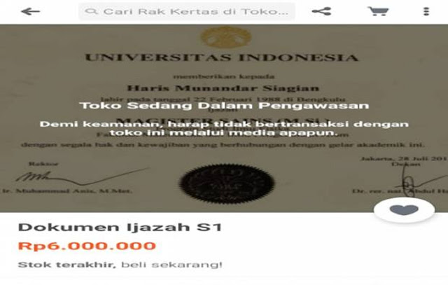 Ampun   ! Ijazah Universitas Indonesia Pun Dijual di Tokopedia
