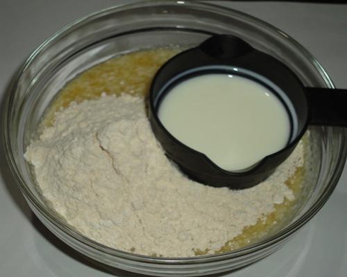 flour and milk added
