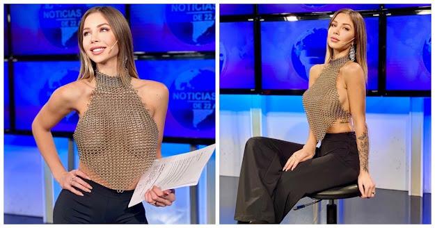 Apresentadora é criticada por mostrar os seios em roupa transparente