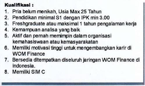 Lowongan Kerja Management Trainee PT WOM Finance Tbk